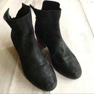 Lucky Brand Black Suede Heeled Kaiya Bootie Boots